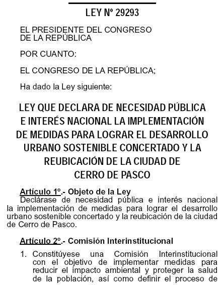 Ley de traslado de la ciudad de Cerro de Pasco 29293