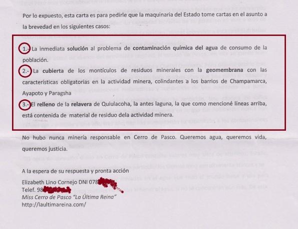 Parte final de la carta con el pedido de acción urgente