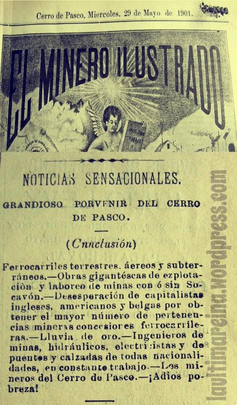 Lluvia de oro en Cerro de Pasco - el Minero Ilustrado 1901 -